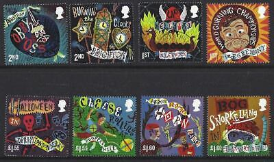 Great Britain 2019 Curious Customs Set Of 8  Singles Fine Used