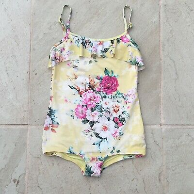 Baku Sz 8 Girls, Yellow Old World Floral, Lined Bathers,  Pre Owned Excellent