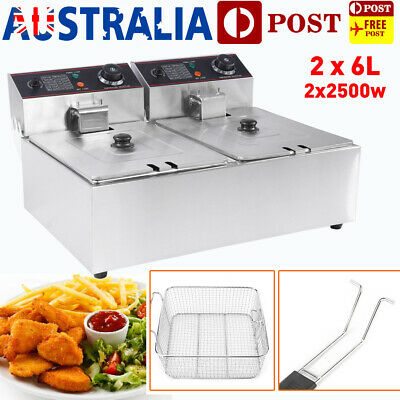 12L Commercial Electric Deep Fryer - Double Basket Chip Frying 200℃ Adjustable