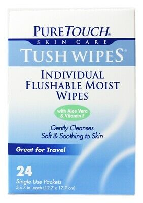 Pure Touch Skin Care - Individual Flushable Moist Tush Wipes Biodegradable - 24