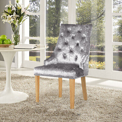 bbf6650dc29f 2xSilver Grey Crushed Velvet Upholstered Dining Chairs High Back Accent  Armchair