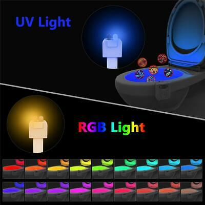Bathroom Night 16 Color Toilet Bowl Light LED Motion Activated Sensor Lamp New