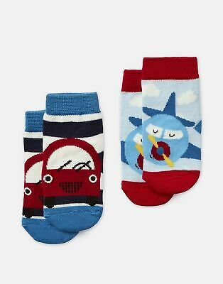 Joules Baby Neat Feet Pack of Two Character Socks in MULTI CAR AND PLANE