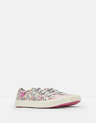 Joules Girls Coast Pump Canvas Lace Up Trainers in WHITE DITSY