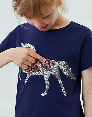 Joules Girls Astra Applique T Shirt Years in NAVY SEQUIN HORSE
