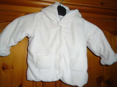 Cosy baby girls pink and white striped jacket, MARKS AND SPENCER, 3-6 months