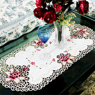 Oval Embroidered Tablecloth Floral Lace Round Table Cover Dining Banquet Decor