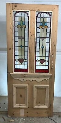Large Victorian Stained Glass Front Door Reclaimed Old Antique Lead Bomb Blitz