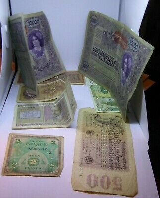 Job Lot of Vintage Bank Notes - WW2 Military French / German / Others