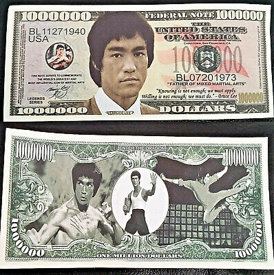 Bruce Lee Novelty Bank Note Kung Fu Legend Martial Arts Million Dollar Bill USA