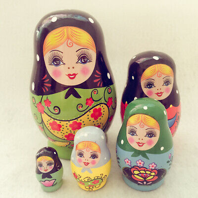 5PCS Painted Girls Wooden Russian Nesting Dolls Babushka Matryoshka Toys