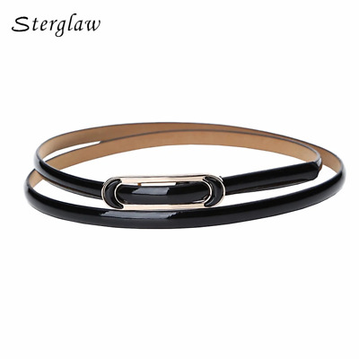 Smooth buckle thin Leather Belts For Women Dress 2019 designer high quality ladi