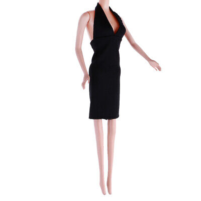 1/6 Trendy Evening Short Dress Summer Clothes for 12inch Doll Outfit Black F