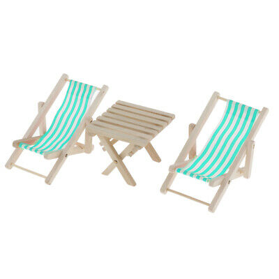 3pcs 1/6 Miniature Blue Stripe Beach Chairs with Table Dollhouse Accessories