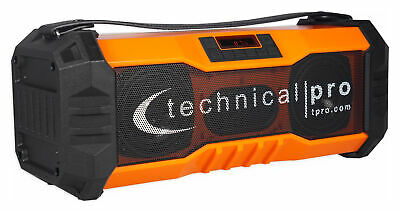 Technical Pro Portable Rechargeable Waterproof Bluetooth Boombox Speaker USB/FM