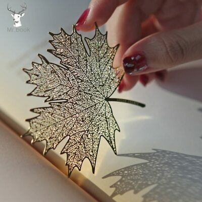 Creative Retro Golden Hollow Sycamore Leaves Metal Bookmark School Student Gifts