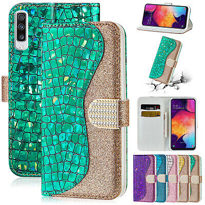 Crystal Bling Diamond Flip Leather Case Wallet Cover For Samsung Galaxy J6 S9 S8