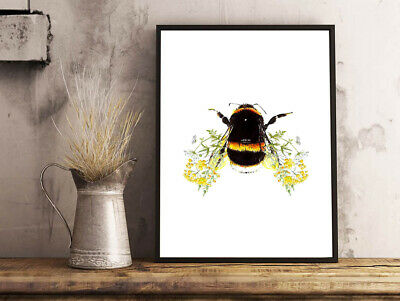 Inspirational Modern Botanical Bumble Bee Flower Wings A4 Poster Print Gift