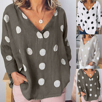 Women Casual Polka Dot V-Neck T-Shirt Blouse Ladies Long Sleeve Loose Tunic Tops