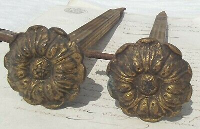 Pair Antique French Pole Rod Supports Long Curtain Hooks Drapery brackets