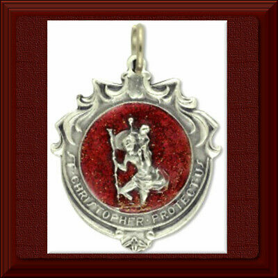 UNIQUE ✝️ Saint St. Christopher Medal with Red Enamel ✝️ I Am A Catholic 🕊
