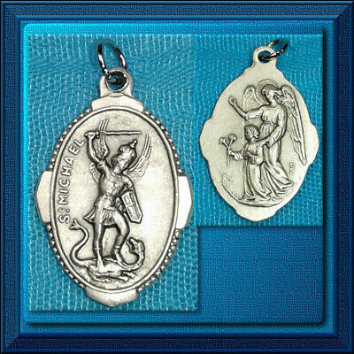 """NEW 🕊 Catholic 🕊 St 1"""" Inch Made in Italy Saint MICHAEL Guardian ANGEL OVAL"""