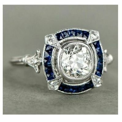 Vintage Art Deco Certified 3.20Cts Round Diamond 14K White Gold Engagement Ring