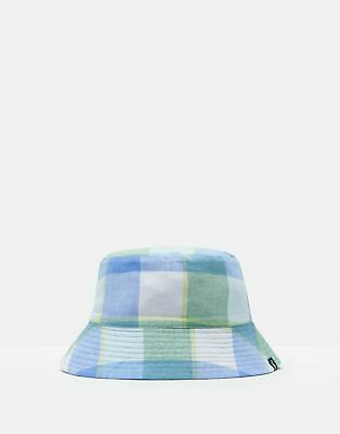 Joules Boys Brit Reversible Bucket Hat in BLUE GREEN GINGHAM Size 3yrin7yr