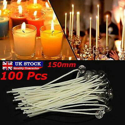 Pack 100 Pre Waxed Candle Wicks for Candle Making With Sustainers - 15cm Long UK