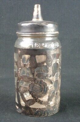Mexico 925 Sterling Silver Overlay Glass Nestle Honey Bottle Jar w/ Lid