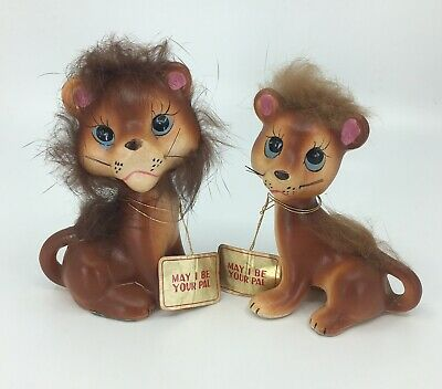 1950  Norcrest Furland Lion & Lioness Ceramic Salt & Pepper Shakers Wiskers Tags