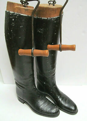 Antique Black Leather Riding Boots + Wooden stays +Carrying hooks - Display