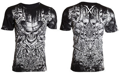 XTREME COUTURE by AFFLICTION Mens T-Shirt OFFERING Skulls BLACK Biker UFC $40