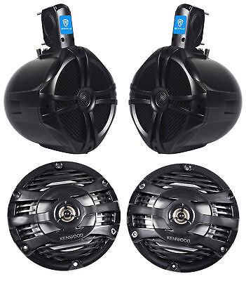 "(2) Kenwood KFC-1653MRB 6.5"" 600w Marine Boat Speakers+(2) 8"" Wakeboard Speakers"