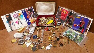 Vintage junk drawer Estate lot of Coins, jewelry, watches collectables military