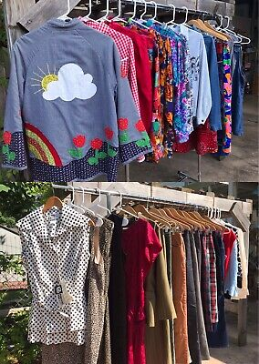 HUGE Lot Of 37 Vtg Dresses Tops Skirts Suits Pants 60s 70s 80s 90s All Sizes SML