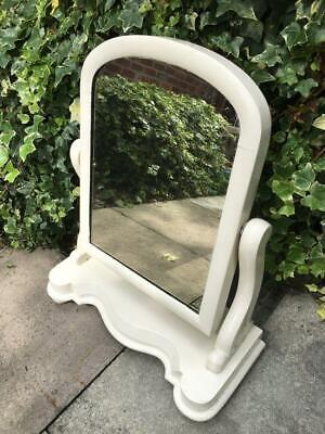 Antique White Wooden swing Tilt Vanity Mirror Dressing Table Toilet Mirror