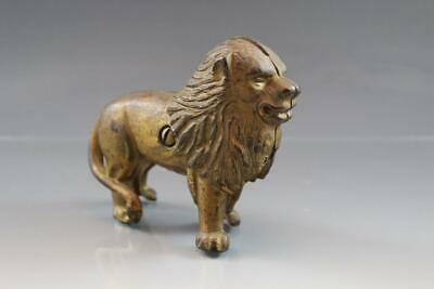 Vintage Cast Iron Metal Lion Figural Coin Still Bank Ears Up