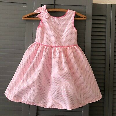 Janie & Jack Toddler Girls Size 3 Party Dress Button Up Back Bow Detail Pink