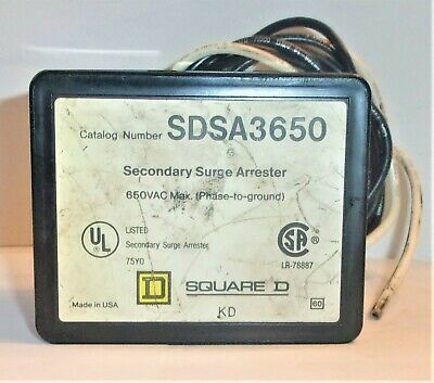 Square D  Sdsa3650 Secondary Surge Arrester  650 Vac Max Lightly Used