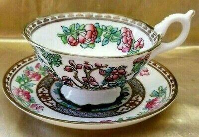Antique Aynsley Footed Tea Cup & Saucer Hand Painted Garden Scene England