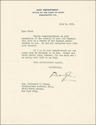 Douglas Macarthur - Typed Letter Signed 07/08/1933