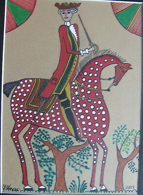 "C377      Original Acrylic Painting By Ljh  ""Redcoat Soldier On Spotted Horse''"