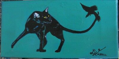 """C374   Original Acrylic Painting By Ljh    """"Black Cat With Raven"""""""