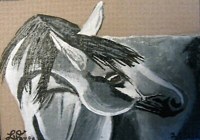 "A323      Original Acrylic Aceo Painting By Ljh  ""Grey Horse"""
