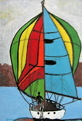 "A350  Original Acrylic Miniature Art Aceo Painting By Ljh ""Sail Boat"""