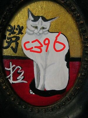 "C396       Original Acrylic Painting By Ljh        ""Japanese Kitty''        Cat"