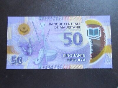 Mauritania Pnew Polymer - 50 Ouguiya - Excellent Uncirculated Condition