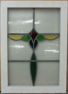 "MIDSIZE OLD ENGLISH LEADED STAINED GLASS WINDOW Colorful Band Design 17"" x 24"""