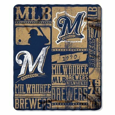 "Milwaukee Brewers Blanket Throw 60"" By 50"" Soft Strenght Series Mlb Licensed Nwt"